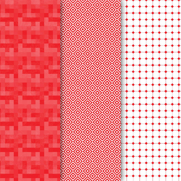 Red Squares Pattern Set