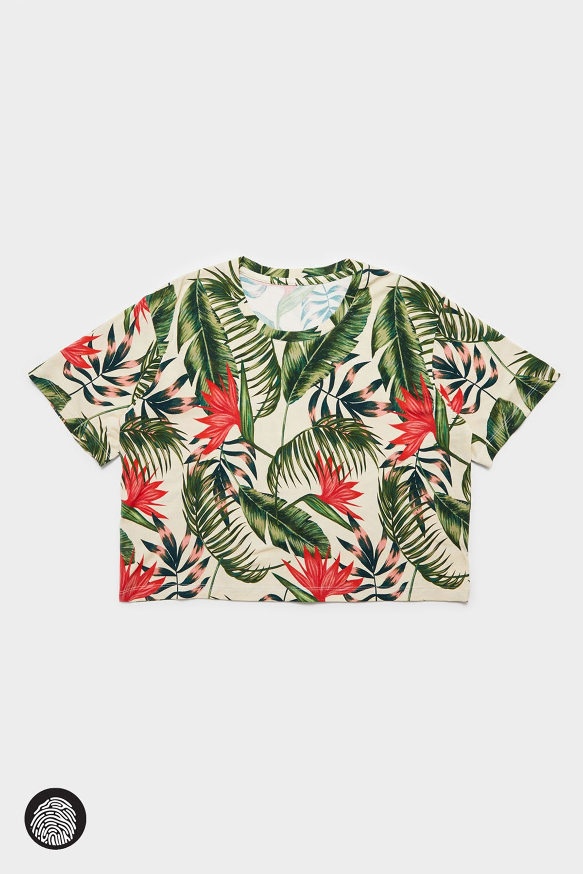 LEILANI CROPPED T-SHIRT / WHITE BIRD OF PARADISE | JungleGurl