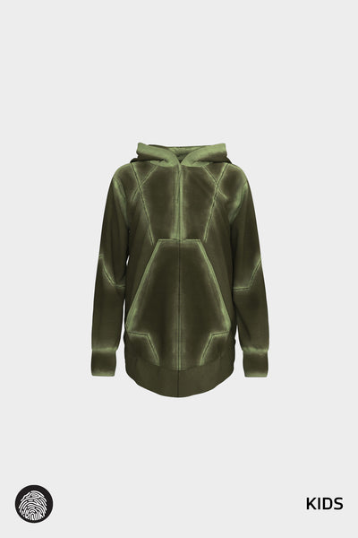 NEXUS 001 / ZIP FRONT HOODIE IN FATIGUE | MOON/5UN