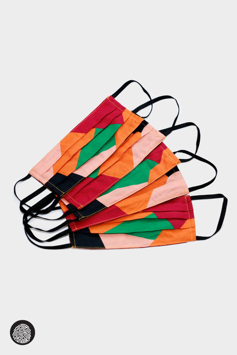 PLEATED FACE MASK (5-PACK) / PLACEMENT COLORBLOCK | Megan Renee