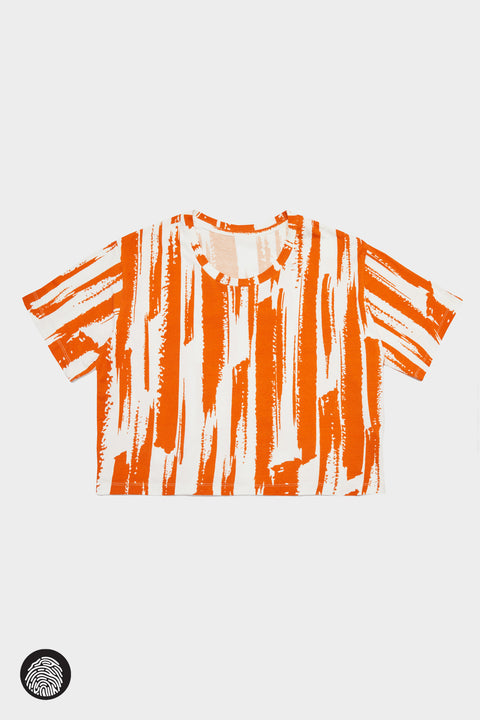 CROPPED T-SHIRT / BRUSH STROKE SAFFRON | Megan Renee