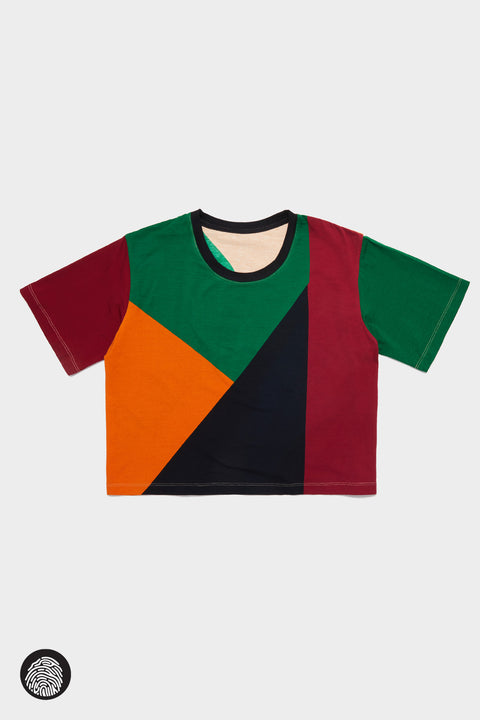 CROPPED T-SHIRT / PLACEMENT COLORBLOCK | Megan Renee