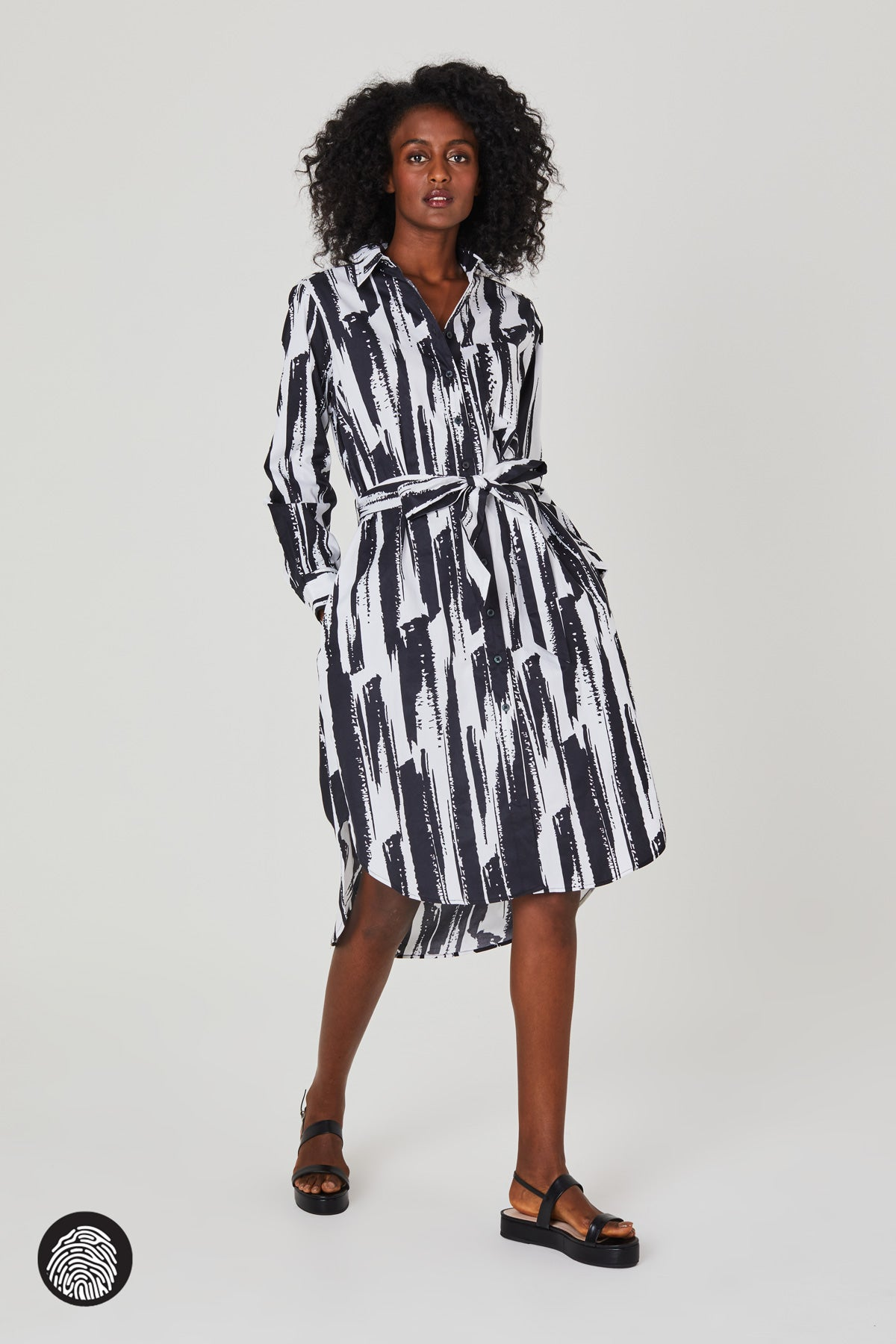 SHIRTDRESS / BRUSH STROKE BLACK | Megan Renee