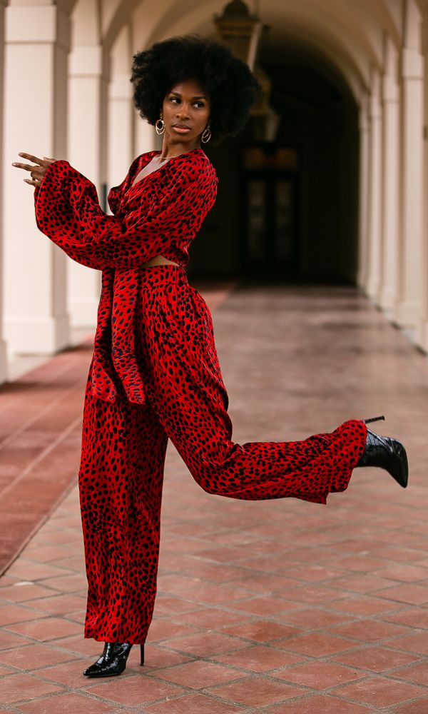 GAMILA WIDE LEG PANT / RED LEOPARD | Megan Renee