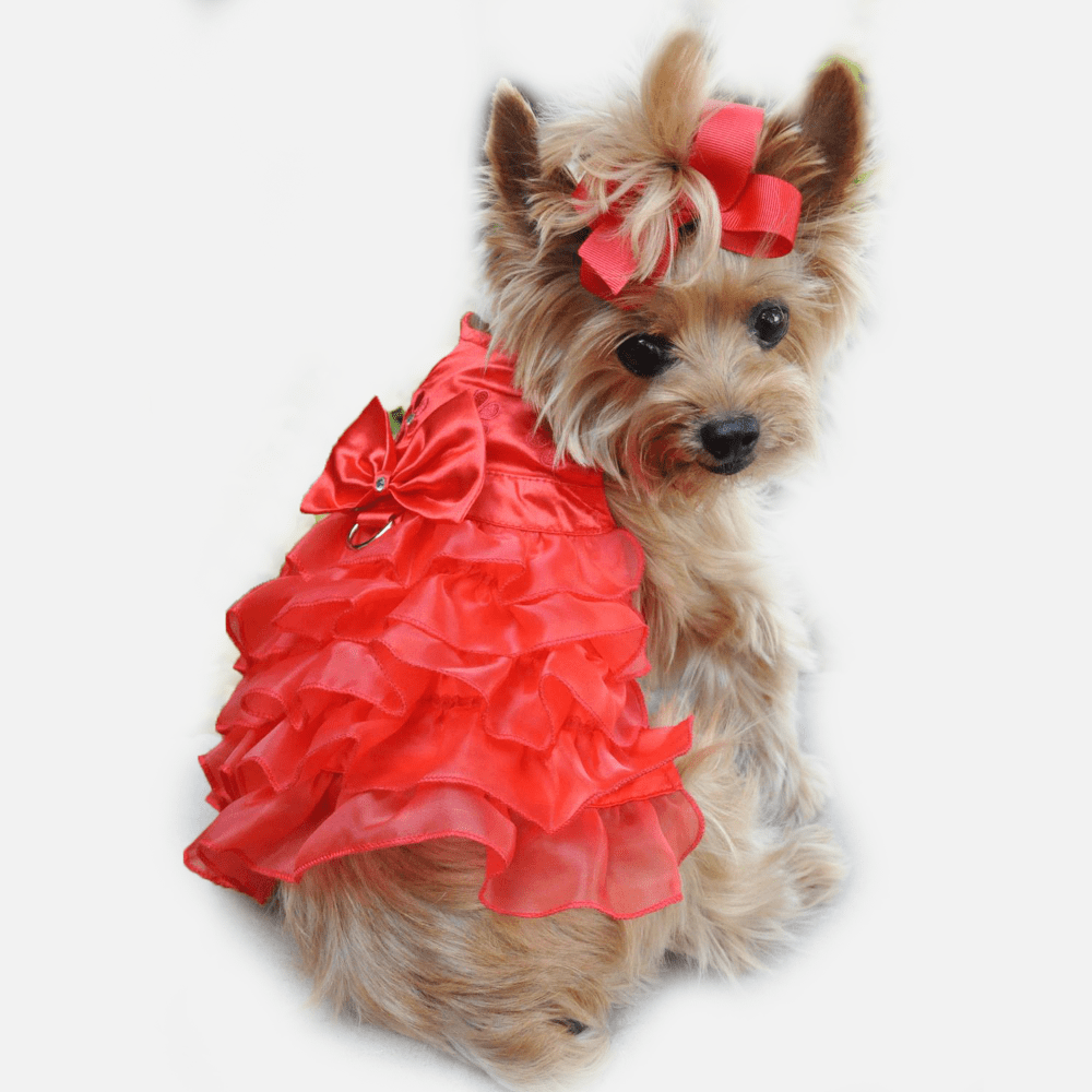 Ruffa Gayle Satin Christmas Dress for Dogs | Milan Pets Dog Clothing Dress