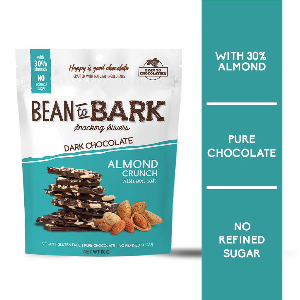 Almond Crunch Dark Chocolate Bark Thins with Sea Salt, Natural unrefined brown sugar, no artificial flavours, vegan, gluten free, healthy snacking, nuts