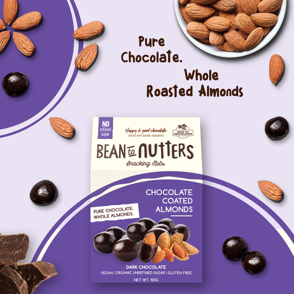 Dark Chocolate Coated Almonds, Vegan, Gluten free, No refined Sugar, Healthy Snack, Roasted Nutties, Pure Chocolate