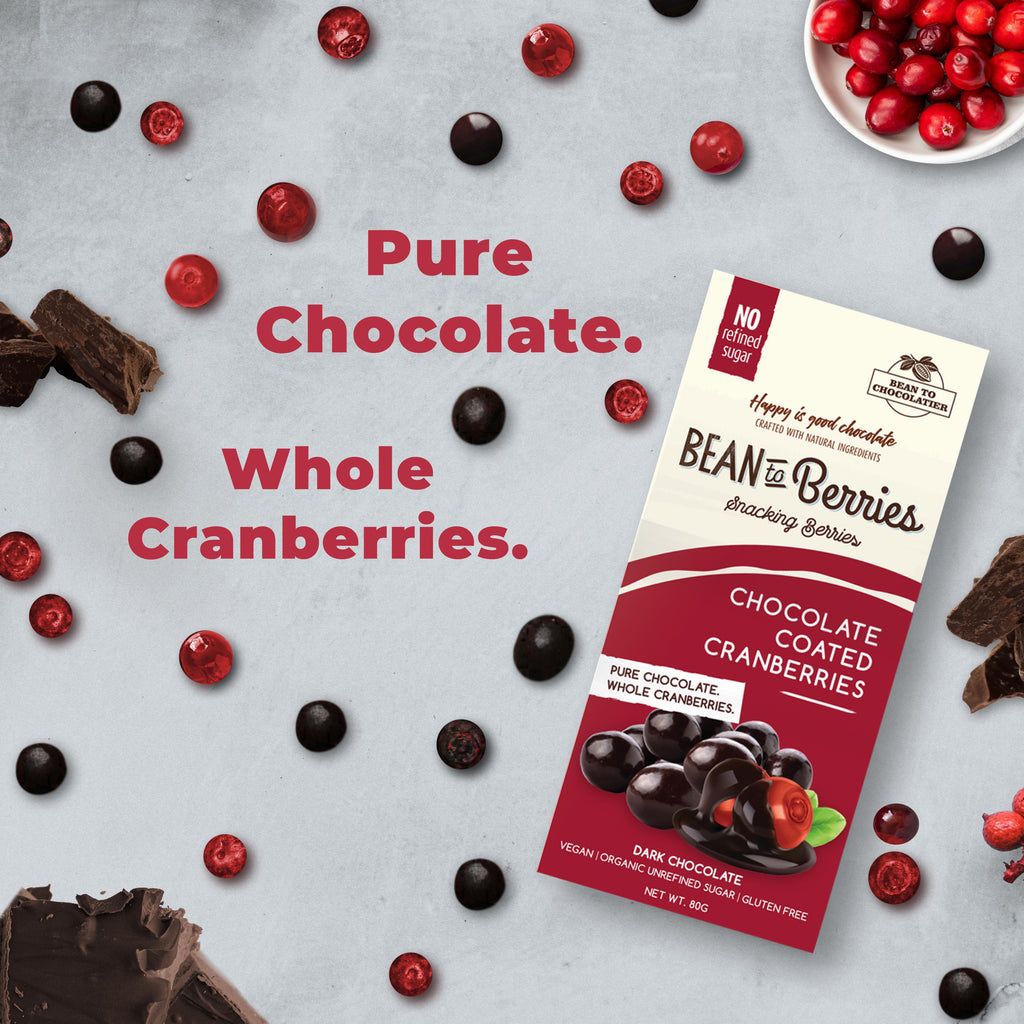 Chocolate Coated Cranberries, Vegan, Gluten free, No refined Sugar, Healthy Snack, Berries, Pure