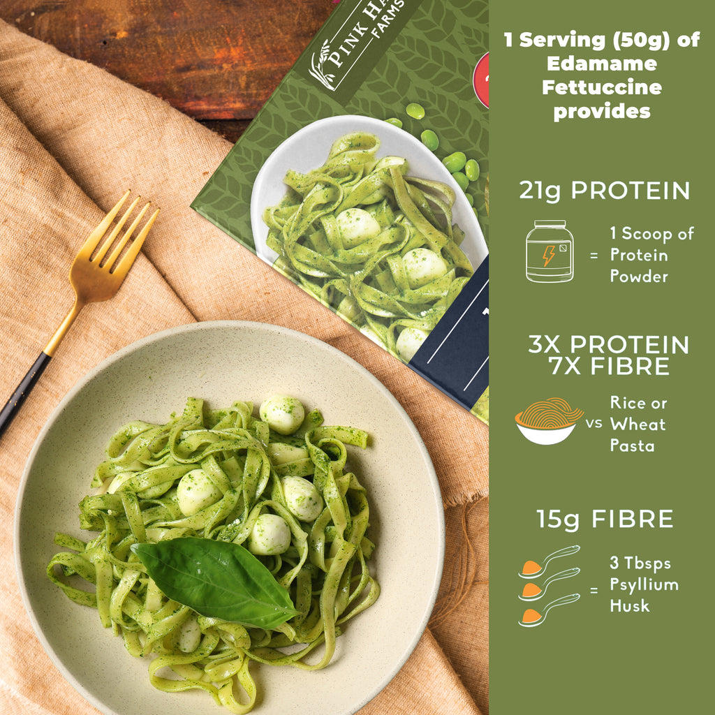 Organic Edamame Fettuccine Pasta, No Rice, No Maida, Vegan, Gluten Free, Diabetic Friendly, Low Cholesterol, High Protein, High Fiber