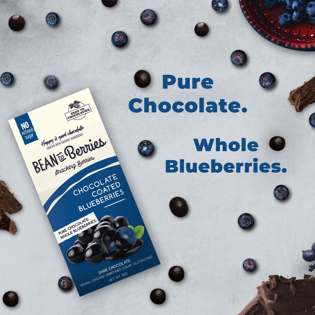Chocolate Coated Blueberries, Vegan, Gluten free, No refined Sugar, Healthy Snack, Berries, Pure