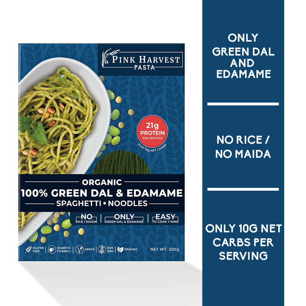 Organic Green Dal and Edamame Spaghetti Noodles Pasta, Vegan Gluten free, No Maida, Healthy, High Protein nutrition, organic, weight loss, High Fiber, low carb
