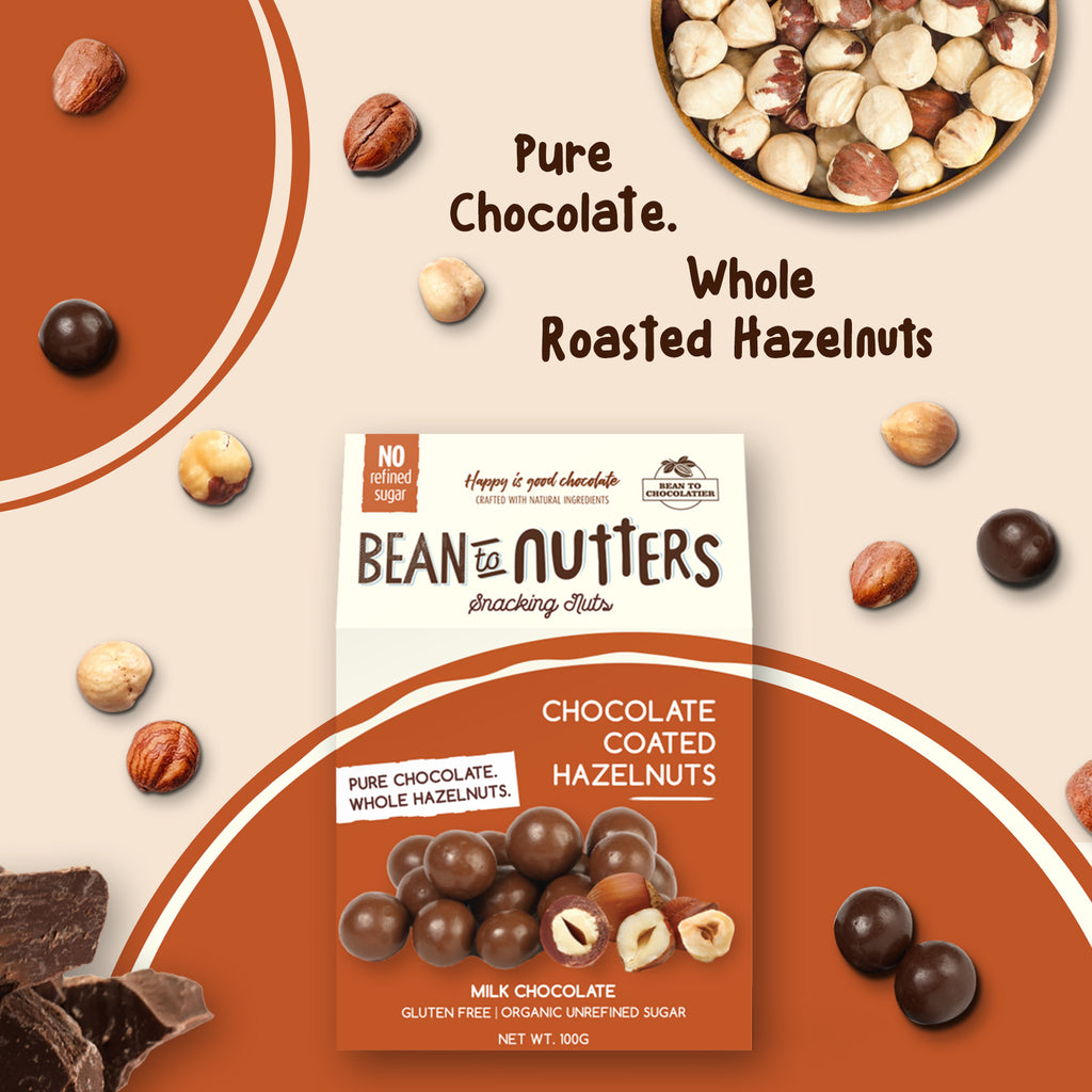 Milk Chocolate Coated Hazelnut, No Refined Sugar, No artificial flavours, vegan, gluten free, healthy snacking, Nutties