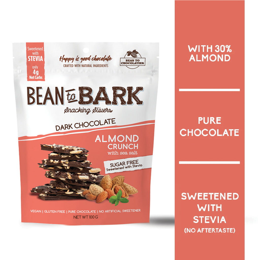 Sugar Free Almond Crunch Dark Chocolate Bark Thins with Sea Salt, Stevia, Erythritol, no artificial flavours, vegan, gluten free, healthy snacking, nuts, Diabetic Friendly, Keto