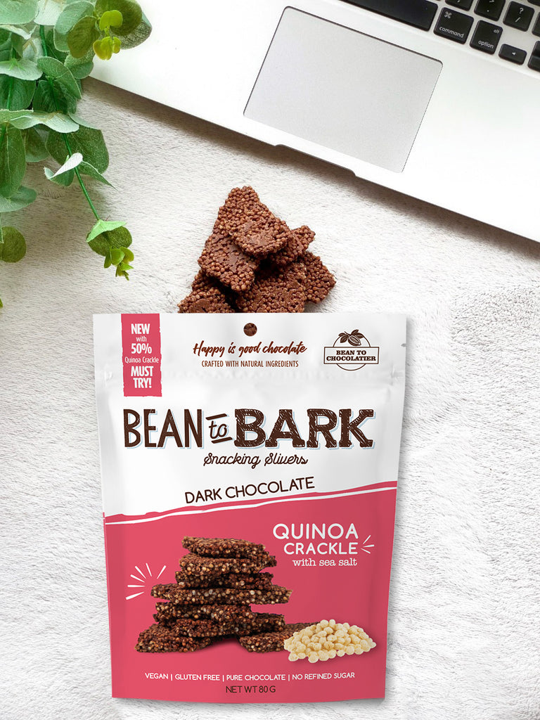 Quinoa Crackle Dark Chocolate Bark Thins with Sea Salt, Natural unrefined brown sugar, no artificial flavours, vegan, gluten free, healthy snacking