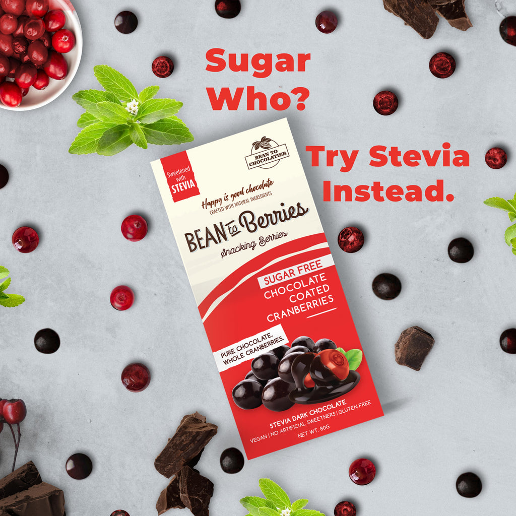 Sugar Free Chocolate Coated Cranberries, Stevia, Erythritol, No artificial flavours, vegan, gluten free, healthy snacking, diabetic Friendly