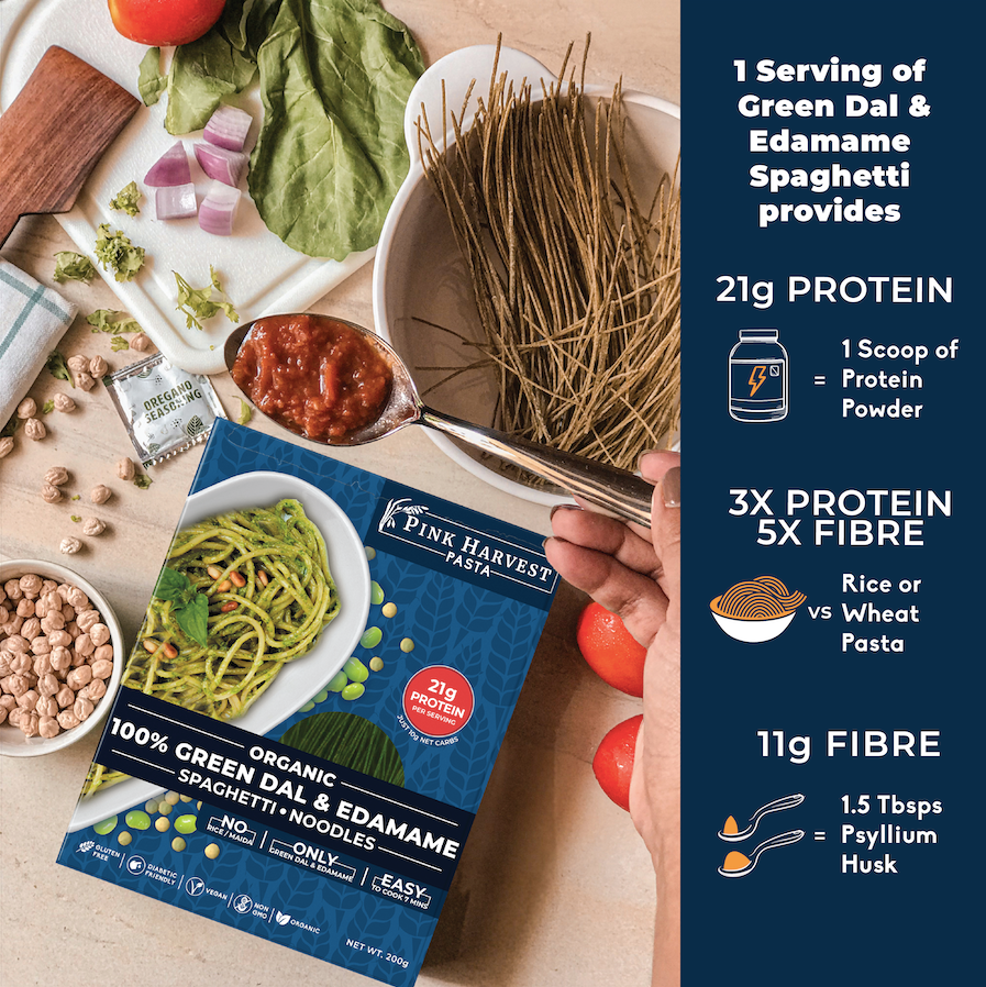 Green Dal and Edamame Spaghetti Noodles Pasta, Vegan Gluten free, No Maida, Healthy, High Protein nutrition, organic, weight loss, High Fiber, low carb