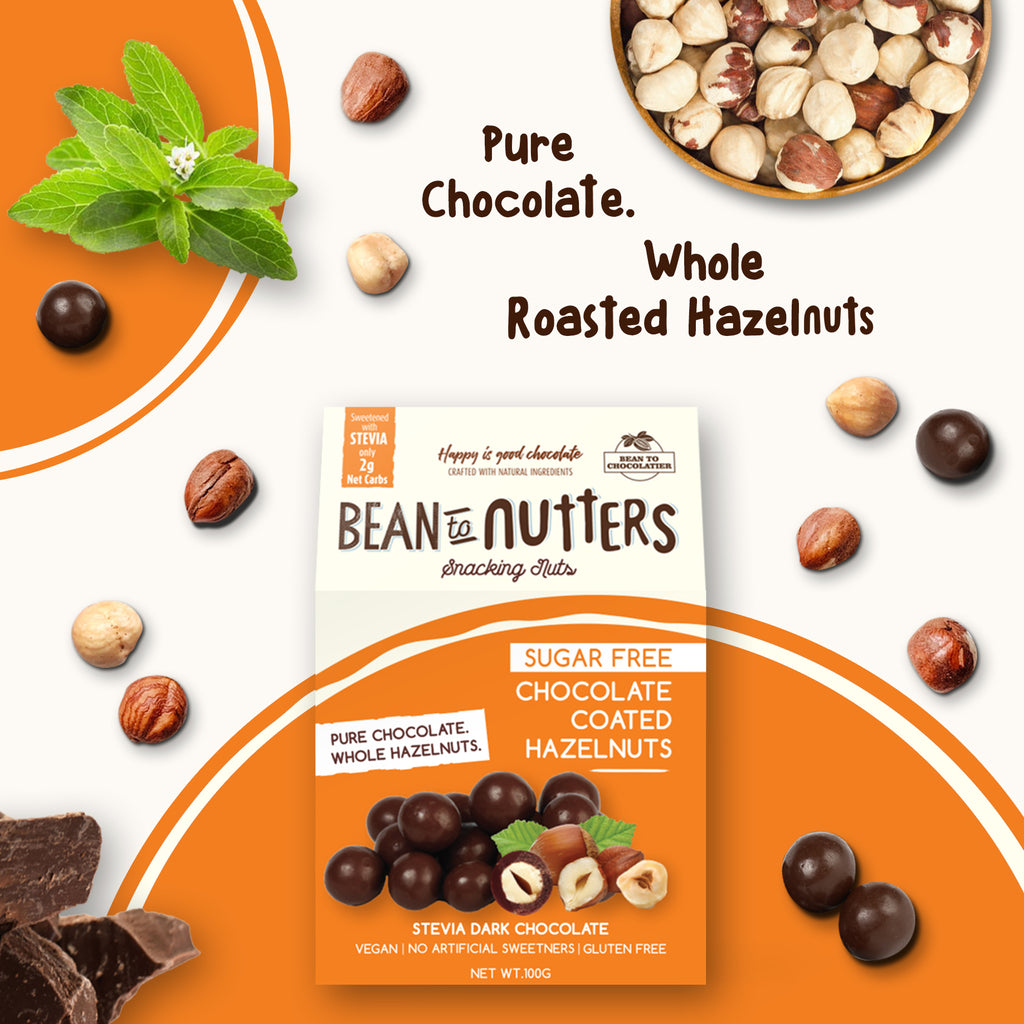Sugar Free Chocolate Coated Hazelnuts, Stevia, Erythritol, No artificial flavours, vegan, gluten free, healthy snacking, diabetic Friendly, Keto