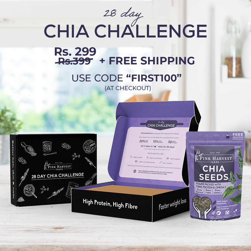 Chia Challenge Box, Chia Seeds with Fibre, Protein & Omega 3, Weight Loss, Boosts Metabolism, Healthy Skin, Hair & Nails