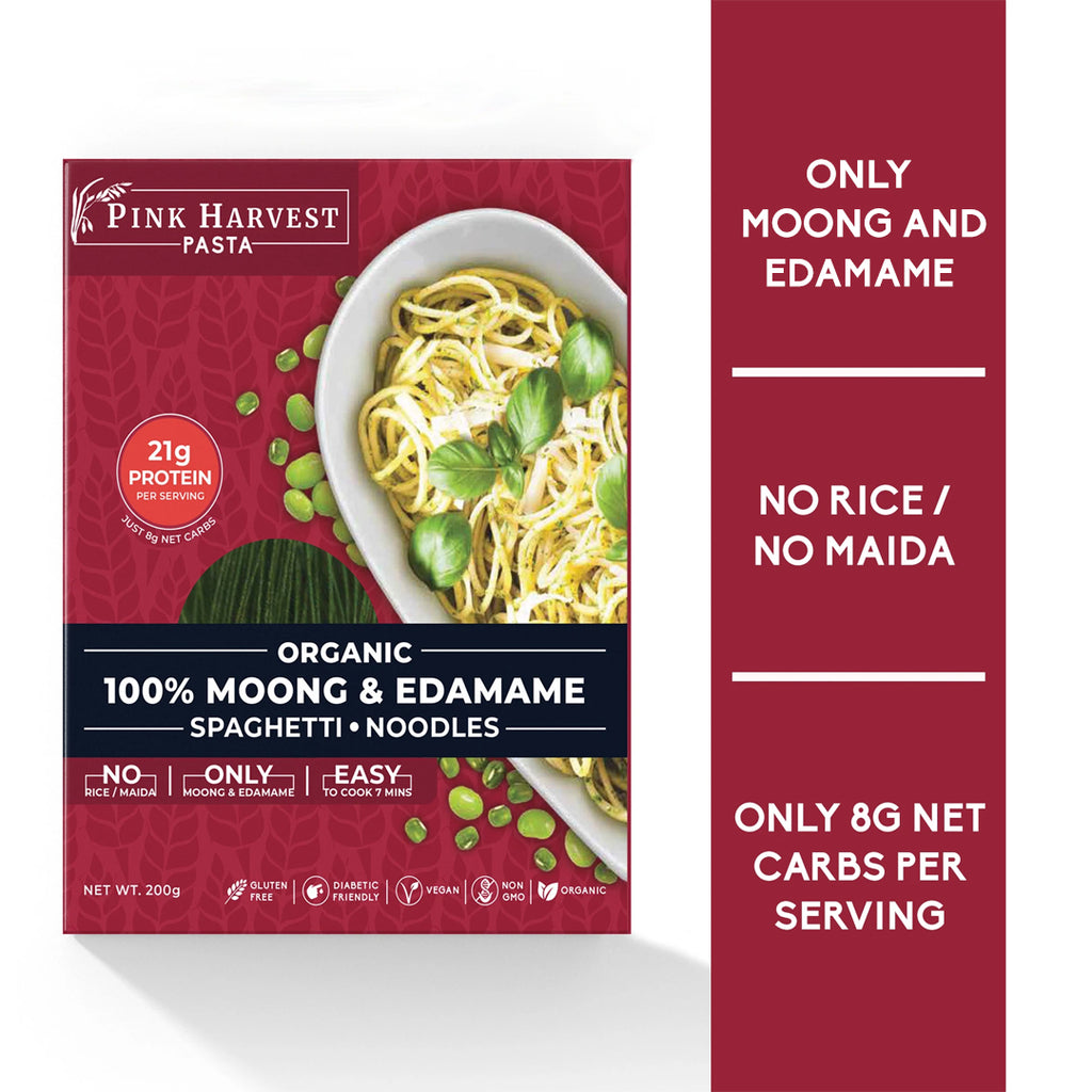 Moong & Edamame SPaghetti Noodles Pasta, Vegan Gluten free, No Maida, Healthy, High Protein nutrition, organic, weight loss, High Fiber