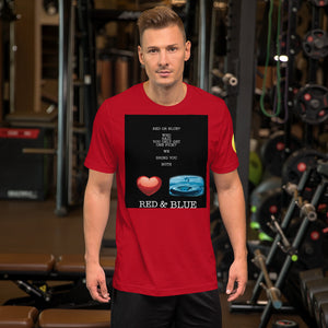 Blue and Red Short-Sleeve Unisex T-Shirt