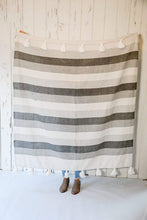 Load image into Gallery viewer, Twill Black & Grey Striped with Tassels
