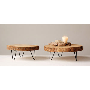 Wood Pedestal w/ Hairpin Legs