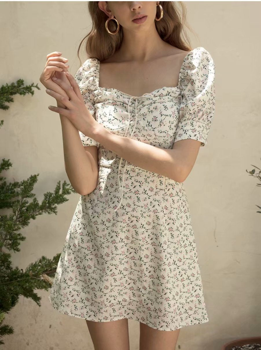 White Floral Print Puff Sleeve Dress