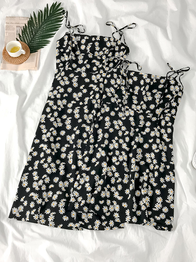 Black Daisy Print Tie Shoulder Dress