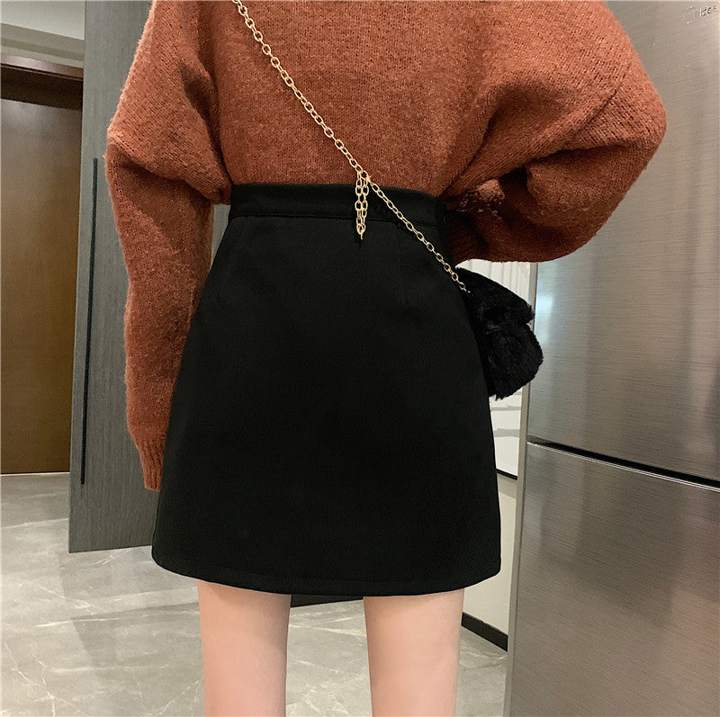 Black Front Zip Thin Wool Mini Skirt