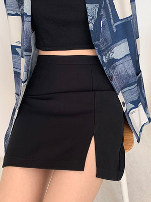 Open image in slideshow, Split Hem A-Line Mini Skirt