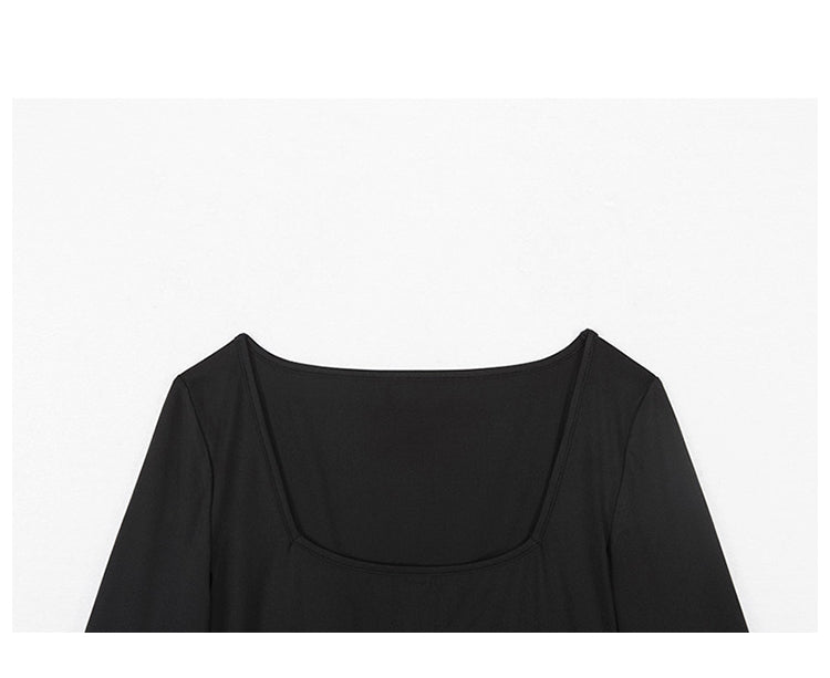 Basic Black Square Neck Long Sleeve Bodysuit