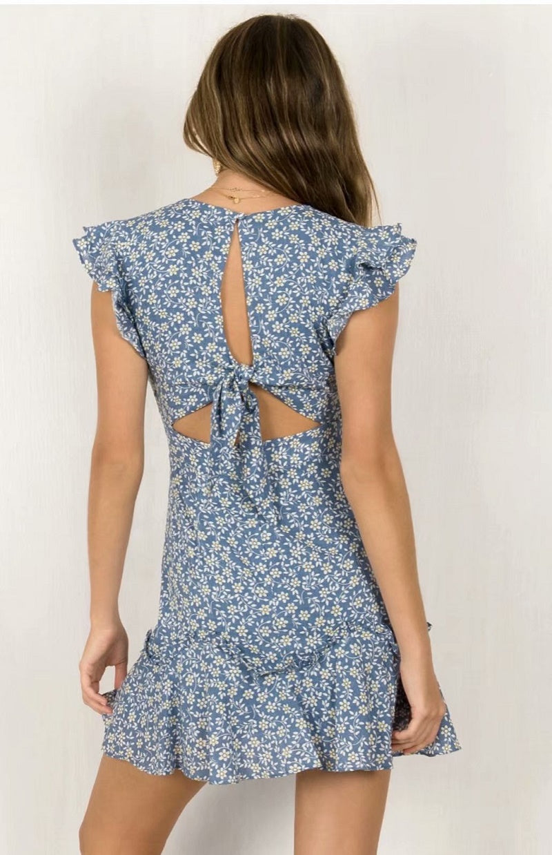 Baby Blue V Neck Floral Print Tea Dress