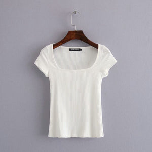 Open image in slideshow, Square Neckline Ribbed Plain Top
