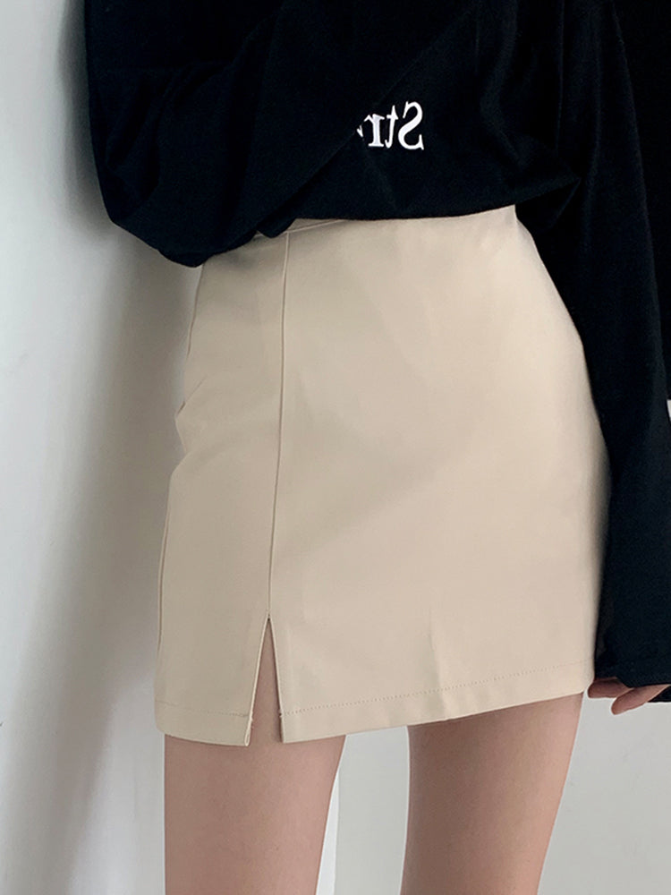 Split Hem A-Line Mini Skirt