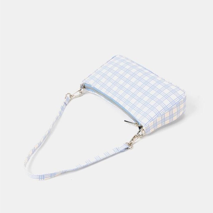 Baby Blue Check Print Canvas Shoulder Bag