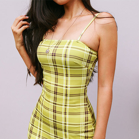 Light Green Check Print Bodycon Dress