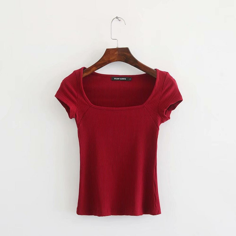Square Neckline Ribbed Plain Top