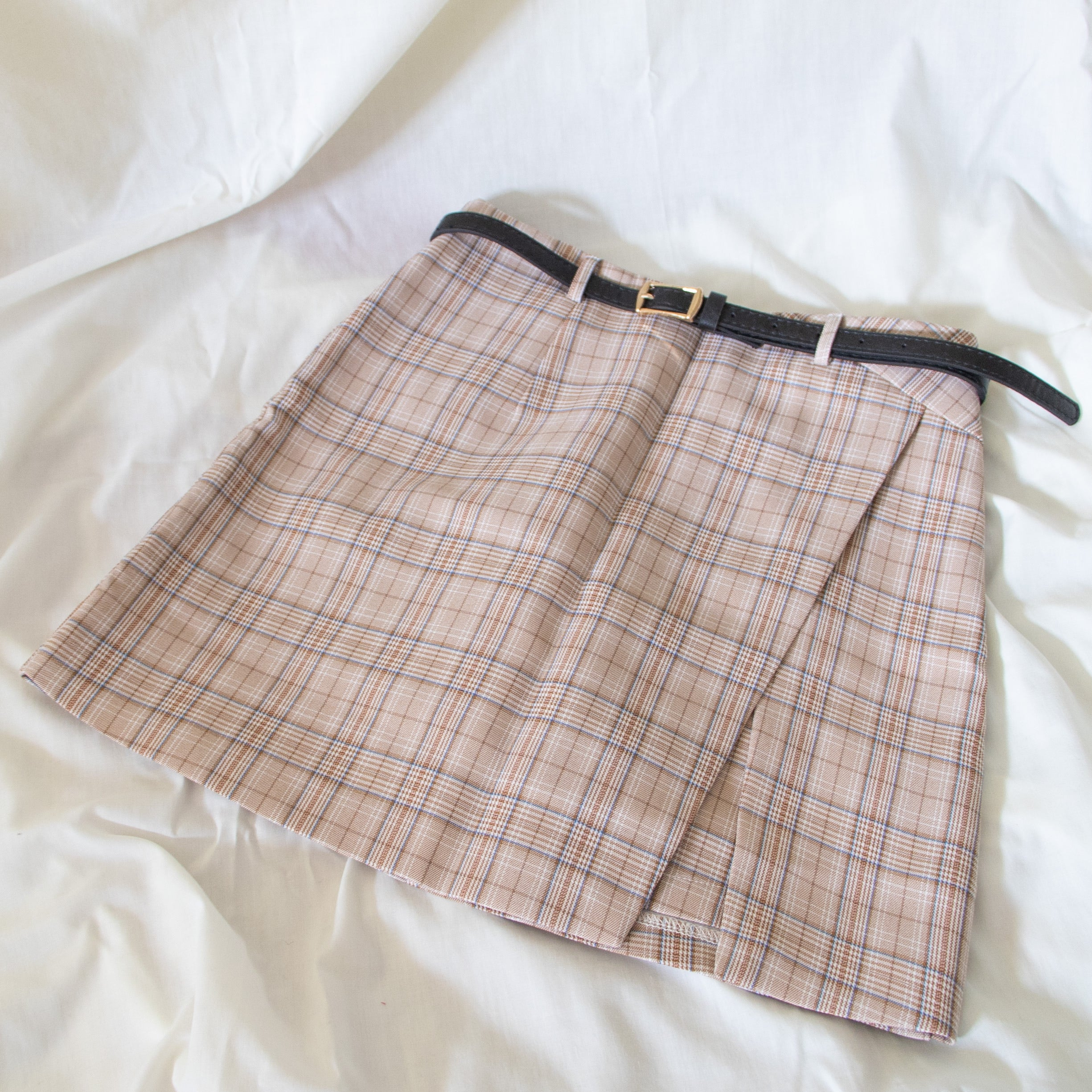 Rosybrown Check Print Skirt