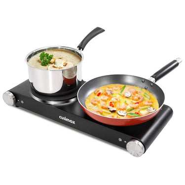 Cusimax 1800W Cast Iron Double Hot Plate Countertop Burner Electric Portabel
