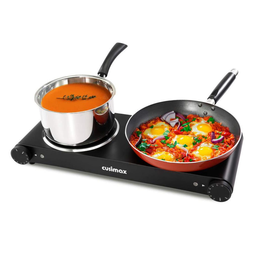 Cusimax 1800W Ceramic Double Hot Plate Infrared Burner 7 Inch Glass Countertop Electric Cooktop