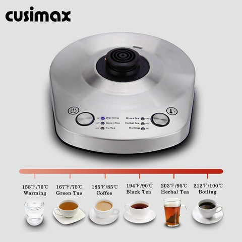 Cusimax 1L BPA-Free Gooseneck Electric Kettle Variable Temperature Keep Warm Stainless Steel for Drip Coffee Tea