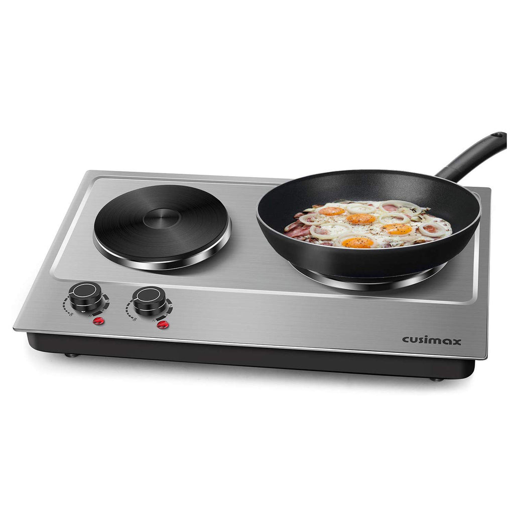 Cusimax 1800W Cast Iron Double Hot Plate Stainless Steel Countertop Burner Cooktop