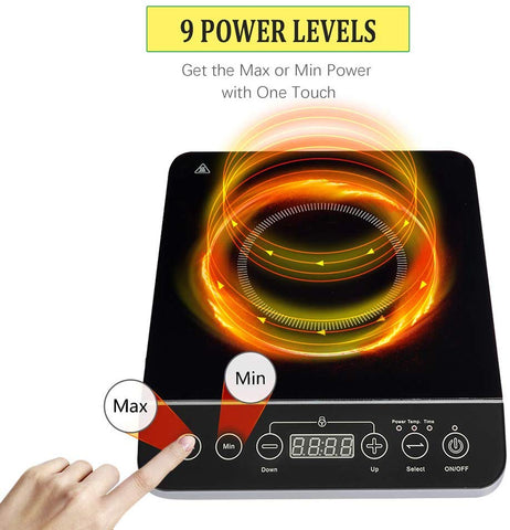 Cusimax 1800W Portable Induction Cooktop Countertop Burner 10.2 Inch