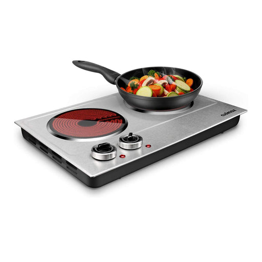 Cusimax 1800W Ceramic Double Hot Plate Countertop Burner Dual Control Infrared Cooktop CMIP-C180N