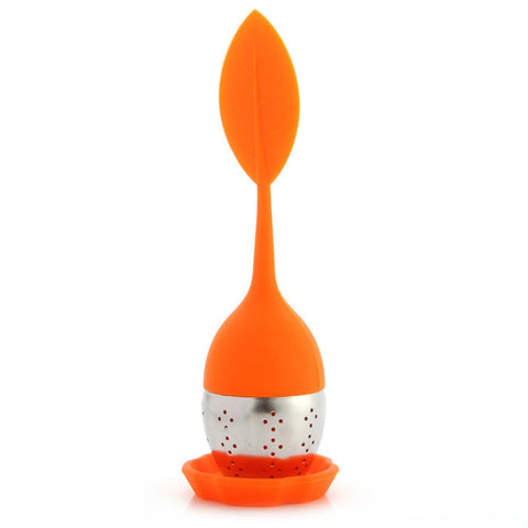 Silicone Handle Leaf Tea Infuser with Drip Tray