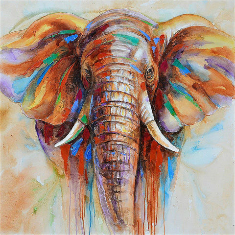 Elephant Head Canvas Painting
