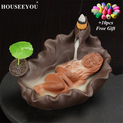 Back flow Incense Holder (Bath Beauty) with 10/20/70pcs Incense Cones