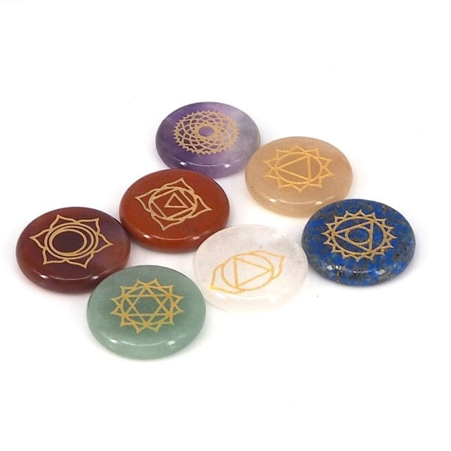 Healing Crystal With Engraved Chakra Symbols