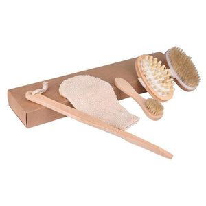 4pcs Dry Body Brushing Set Natural Bristle