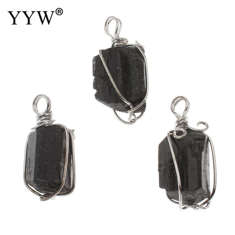 Black Tourmaline Pendant Necklace (Raw Stone)15.5x34.5x14.5mm